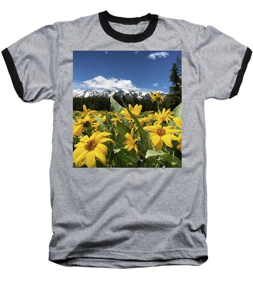 Grand Teton Mountains Baseball T-Shirt