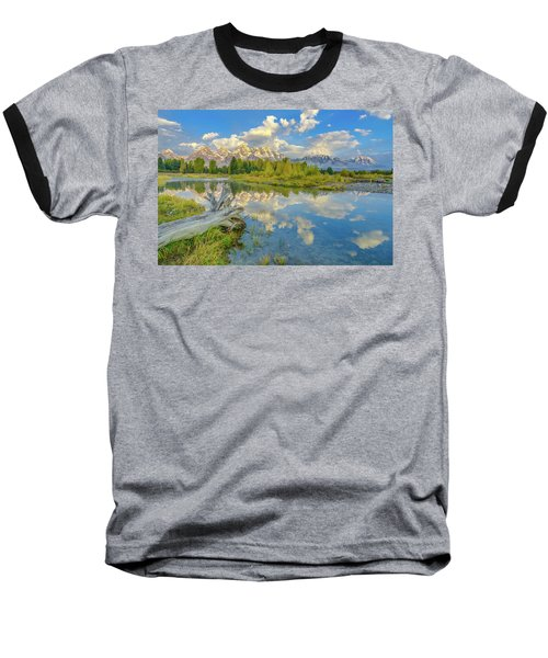 Grand Teton Riverside Morning Reflection Baseball T-Shirt