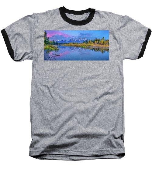 Grand Teton Sunrise Panoramic Baseball T-Shirt