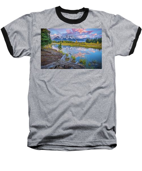 Grand Teton Sunrise Reflection Baseball T-Shirt
