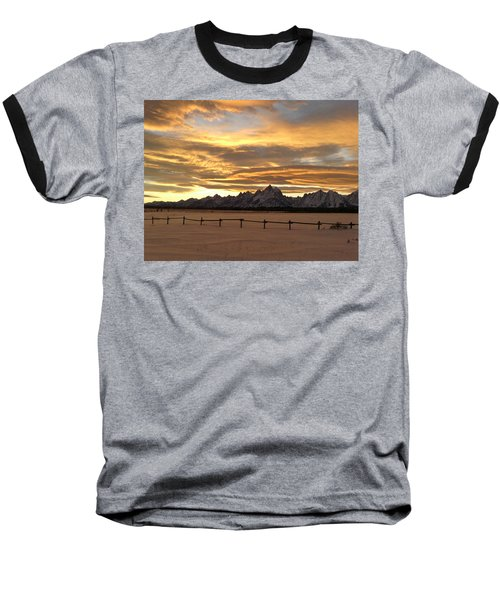 Grand Tetons In January Glory Baseball T-Shirt
