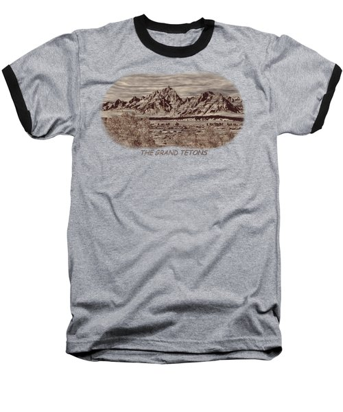 Grand Tetons Woodburning 2 Baseball T-Shirt
