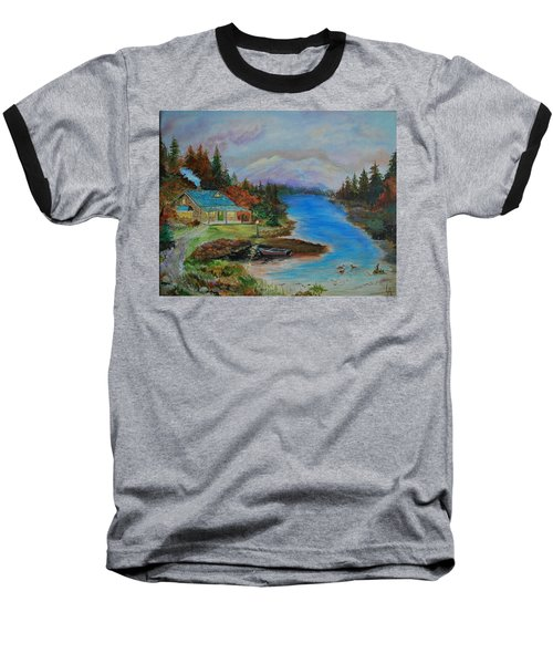 Baseball T-Shirt featuring the painting Grandmas Cabin by Leslie Allen