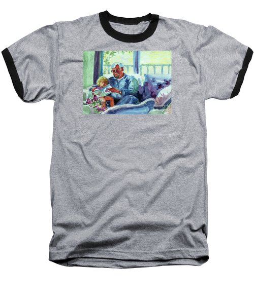 Baseball T-Shirt featuring the painting Grandpa Reading by Kathy Braud