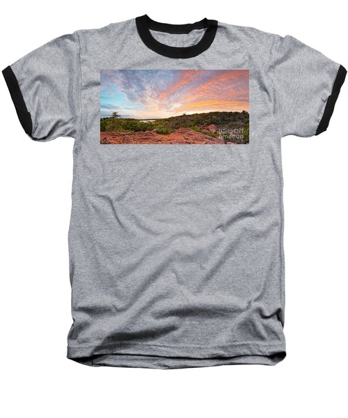 Granite Hills Of Inks Lake State Park Against Fiery Sunset - Burnet County Texas Hill Country Baseball T-Shirt