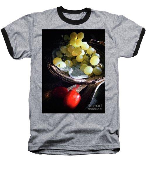 Baseball T-Shirt featuring the photograph Grapes And Tomatoes by Silvia Ganora