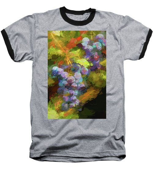 Grapes In Abstract Baseball T-Shirt by Penny Lisowski