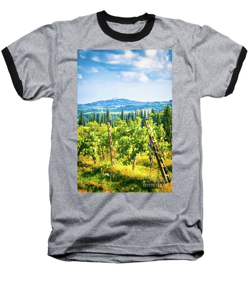 Baseball T-Shirt featuring the photograph Grapevine In San Gimignano Tuscany by Silvia Ganora