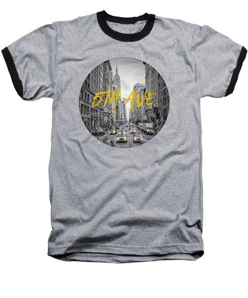 Graphic Art Nyc 5th Avenue Baseball T-Shirt