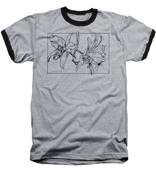 Graphic Orchid On Transparent Background Baseball T-Shirt