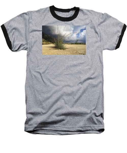 Grass Growing Out Of Crack In Tarmac Baseball T-Shirt by Perry Van Munster