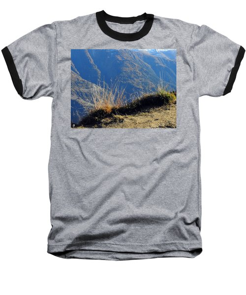 Grass In The Foreground, The Main Valley Of The Swiss Canton Of Valais In The Background Baseball T-Shirt by Ernst Dittmar