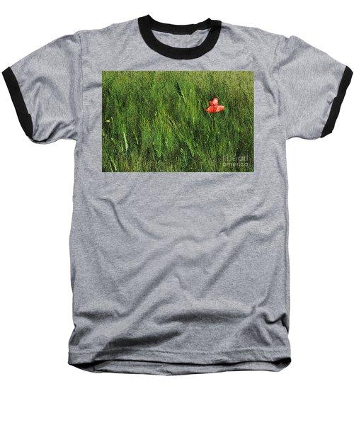 Grassland And Red Poppy Flower 2 Baseball T-Shirt by Jean Bernard Roussilhe