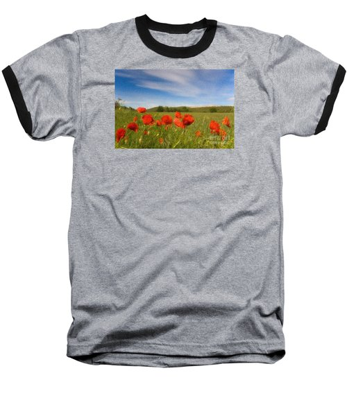 Baseball T-Shirt featuring the photograph Grassland And Red Poppy Flowers by Jean Bernard Roussilhe