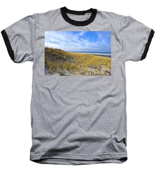Grassy Sand Dunes Overlooking The Beach Baseball T-Shirt
