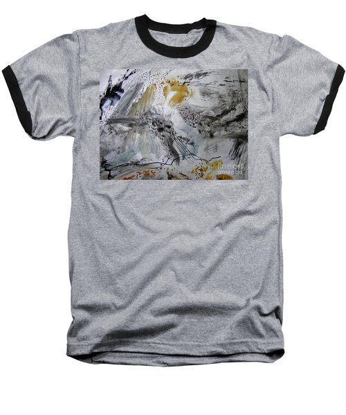 Baseball T-Shirt featuring the painting Gray And Gold by Nancy Kane Chapman