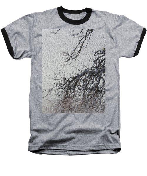 Gray Day At The Lake - Bare Branches Baseball T-Shirt by Brooks Garten Hauschild