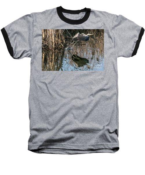 Gray Heron Flew Up Baseball T-Shirt