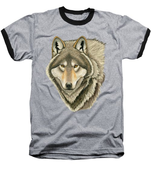 Gray Wolf Portrait Baseball T-Shirt
