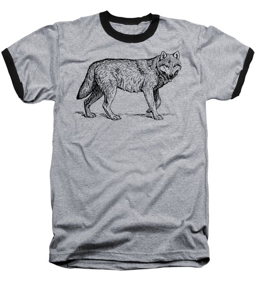 Gray Wolf Timber Wolf Western Wolf Woods Texture Baseball T-Shirt
