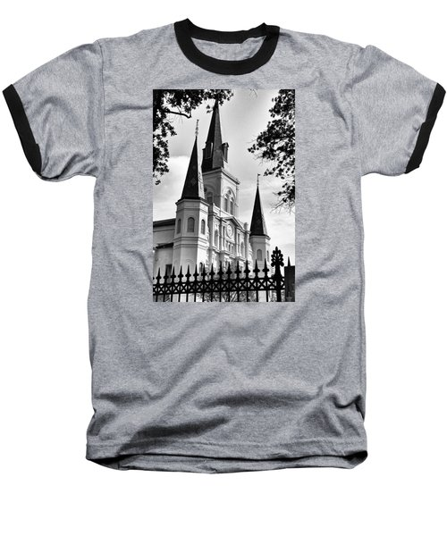 Grayscale St. Louis Cathedral Baseball T-Shirt
