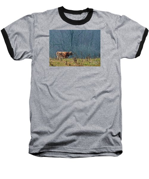 Baseball T-Shirt featuring the photograph Grazing In Winter by Christian Mattison