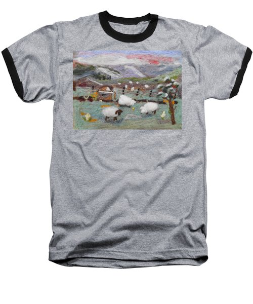 Grazing Woolies Baseball T-Shirt by Christine Lathrop