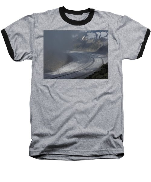 Great Aletsch Glacier In The Clouds. Canton Of Valais, Switzerland. Baseball T-Shirt