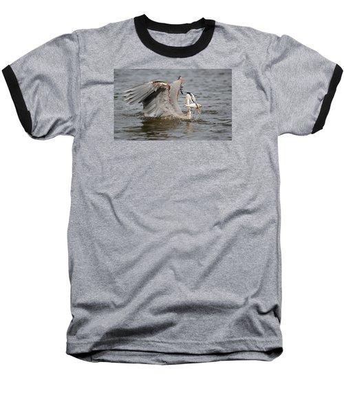 Great Blue Heron And Fish Baseball T-Shirt
