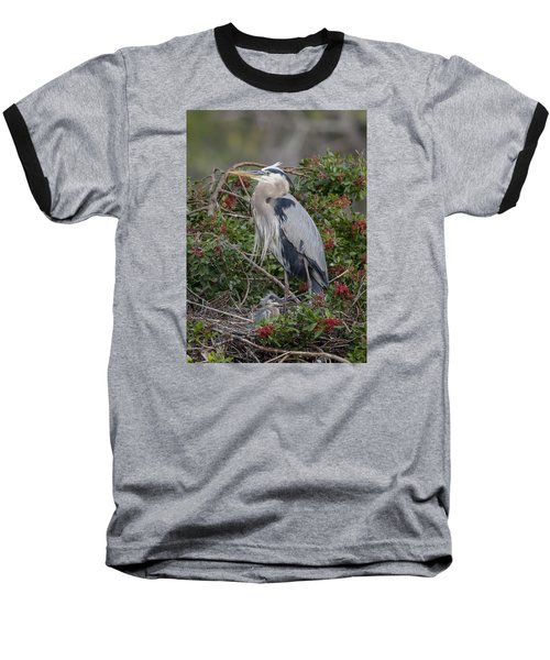 Great Blue Heron And Nestling Baseball T-Shirt