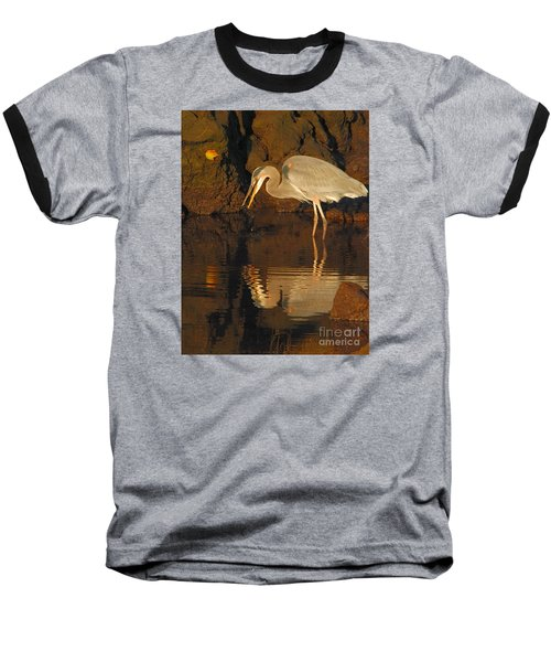 Great Blue Heron Baseball T-Shirt by Debbie Stahre