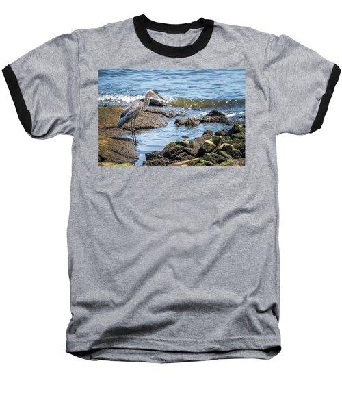 Great Blue Heron Fishing On The Chesapeake Bay Baseball T-Shirt
