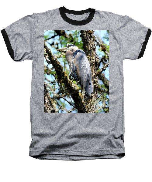 Great Blue Heron In A Tree Baseball T-Shirt