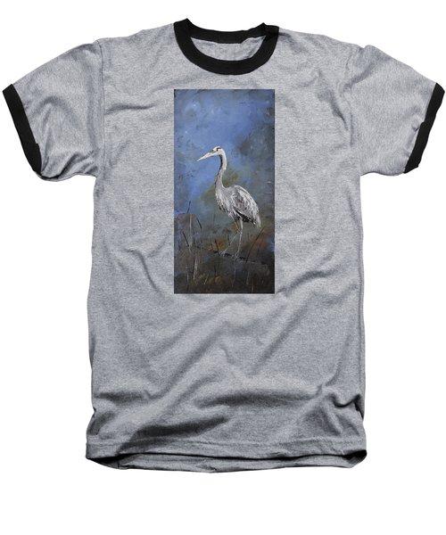 Great Blue Heron In Blue Baseball T-Shirt by Carolyn Doe