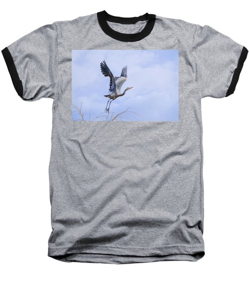 Great Blue Heron In Flight Baseball T-Shirt by Keith Boone
