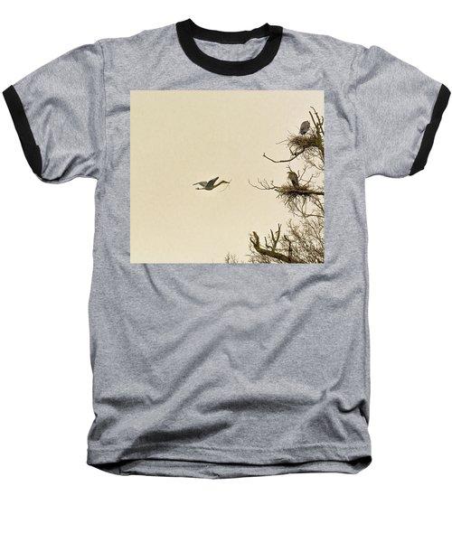 Great Blue Heron Nest Building Baseball T-Shirt