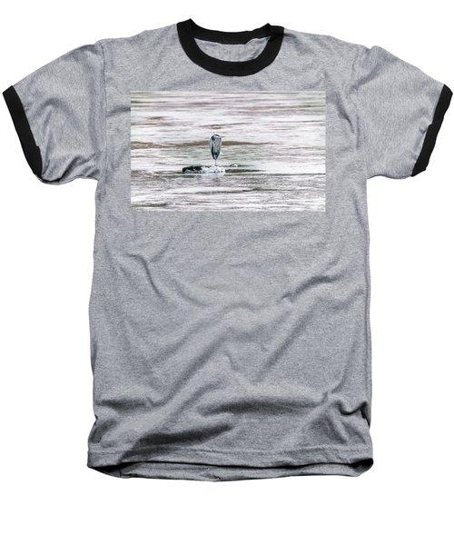 Great Blue Heron On A Frozen Lake Baseball T-Shirt