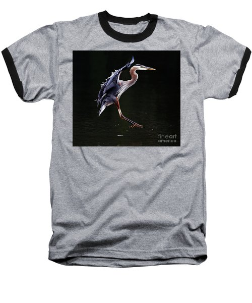 Great Blue Heron On The Wing Baseball T-Shirt