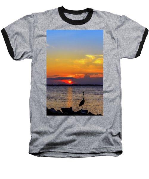 Great Blue Heron Silhouette Baseball T-Shirt