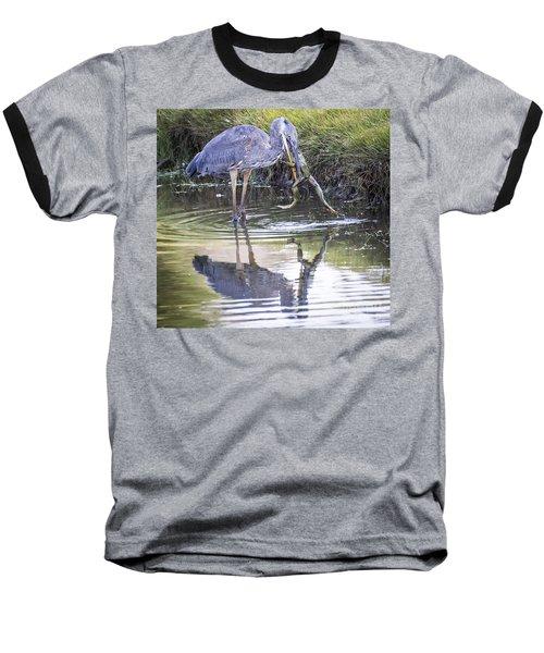 Great Blue Heron Vs Huge Frog Baseball T-Shirt