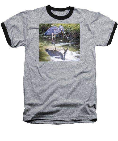 Great Blue Heron Vs Huge Frog Baseball T-Shirt