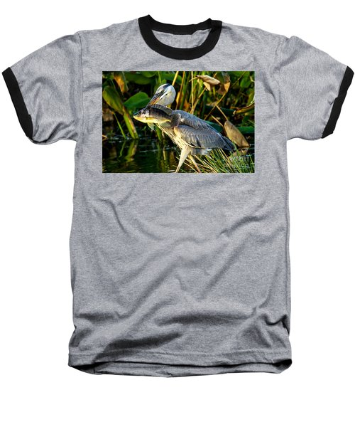 Great Blue Heron With Fish Baseball T-Shirt