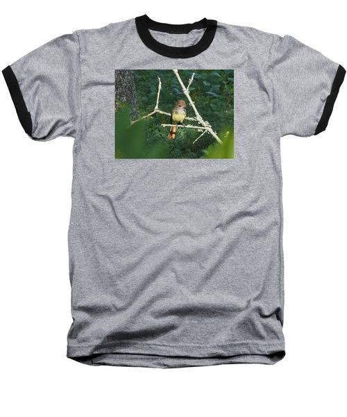 Great Crested Flycatcher Baseball T-Shirt