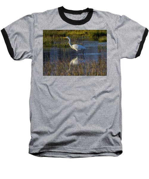 Great Egret, Ardea Alba, In A Pond Baseball T-Shirt