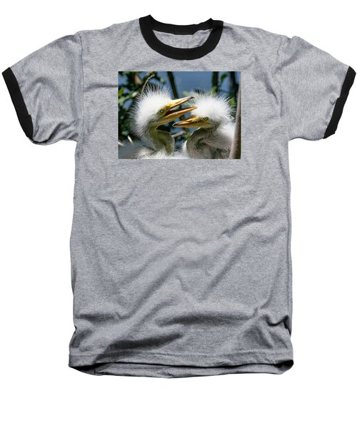 Great Egret Chicks Baseball T-Shirt