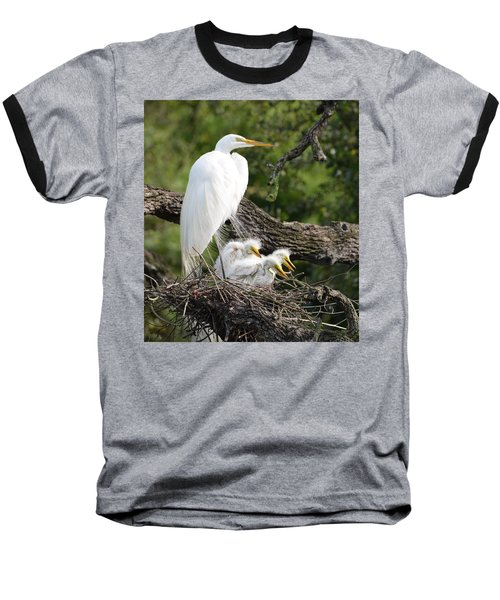 Great Egret Family  Baseball T-Shirt by Richard Bryce and Family