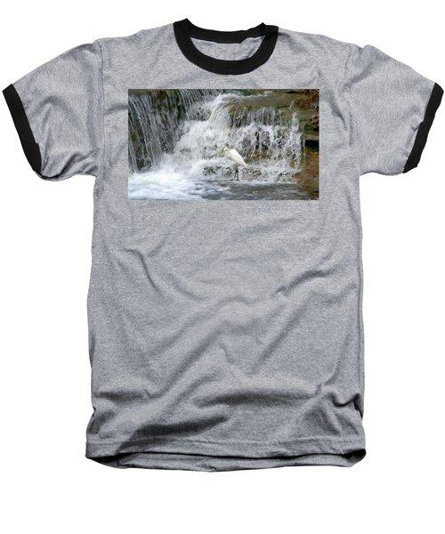 Great Egret Hunting At Waterfall - Digitalart Painting 4 Baseball T-Shirt