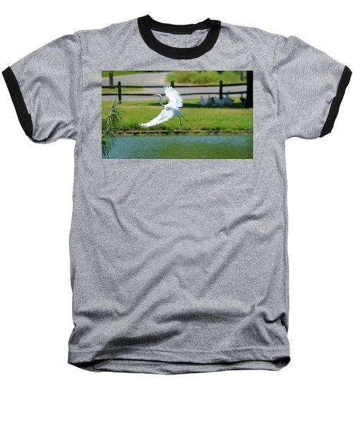 Great Egret In A Left Banking Turn - Digitalart Baseball T-Shirt
