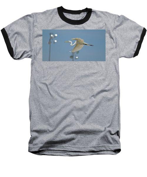 Great Egret In Flight And Flood Lighting Baseball T-Shirt