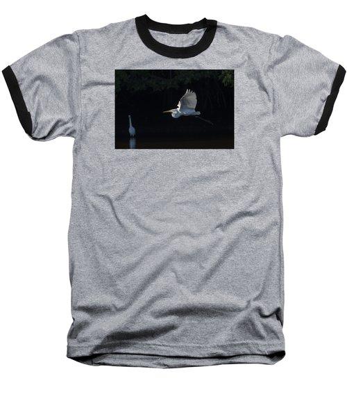 Great Egret In Morning Flight Baseball T-Shirt